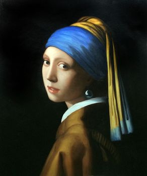Figure Canvas Art Painting for Living Room Wall Decor Girl with Pearl Earring by Johannes Vermeer Portrait Painting High Quality