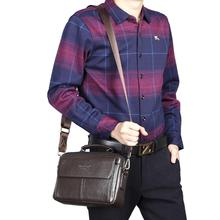 2017 Men's Handbags Genuine leather First layer Cowhide fashion Handbag Vintage Shoulder Messenger Bags wallet Business Bag 100%genuine leather handbags women crocodile handbag messenger shoulder bags first layer cowhide leather zipper party bag purple
