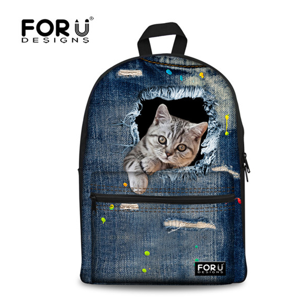 FORUDESIGNS Backpack Female Jeans Style Cute Animal Cat Pattern School Backpack for Teenager Girls School Bag Women Canvas Bags miyahouse preppy style canvas school backpack for teenager girls cute unicorn printed school bag female travel bag