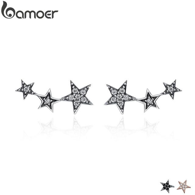 BAMOER Аутентичные 925 пробы серебро CZ Изысканный Stackable Star серьги гвоздики для женщин Jewelry подарок ко Дню Святого Валентина SCE175