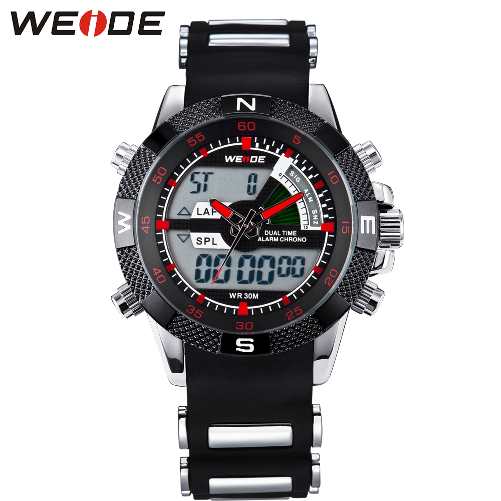 Hot Selling WEIDE Watch Outdoor Men Sport Watches Analog Digital Display 3ATM Water Resistant Silicone strap LCD Wristwatches weide analog digital display led sport watch for men 3atm water resistant stainless steel back quartz movement wristwatches