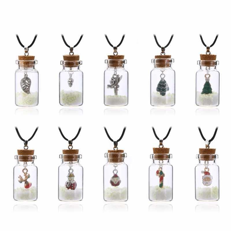 2019 Bottiglia di Desiderio di Vetro Dell'annata Della Collana Luminoso Albero Di Natale Pupazzo di Neve Fiocco di neve di Natale Collane Pendenti con gemme e perle Gioielli Di Natale