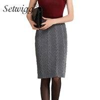 SETWIGG Womens Knitted Midi Pencil Skirts Stretch Waist Twist Pattern Knitted Knee Length Slim Medium Skirt