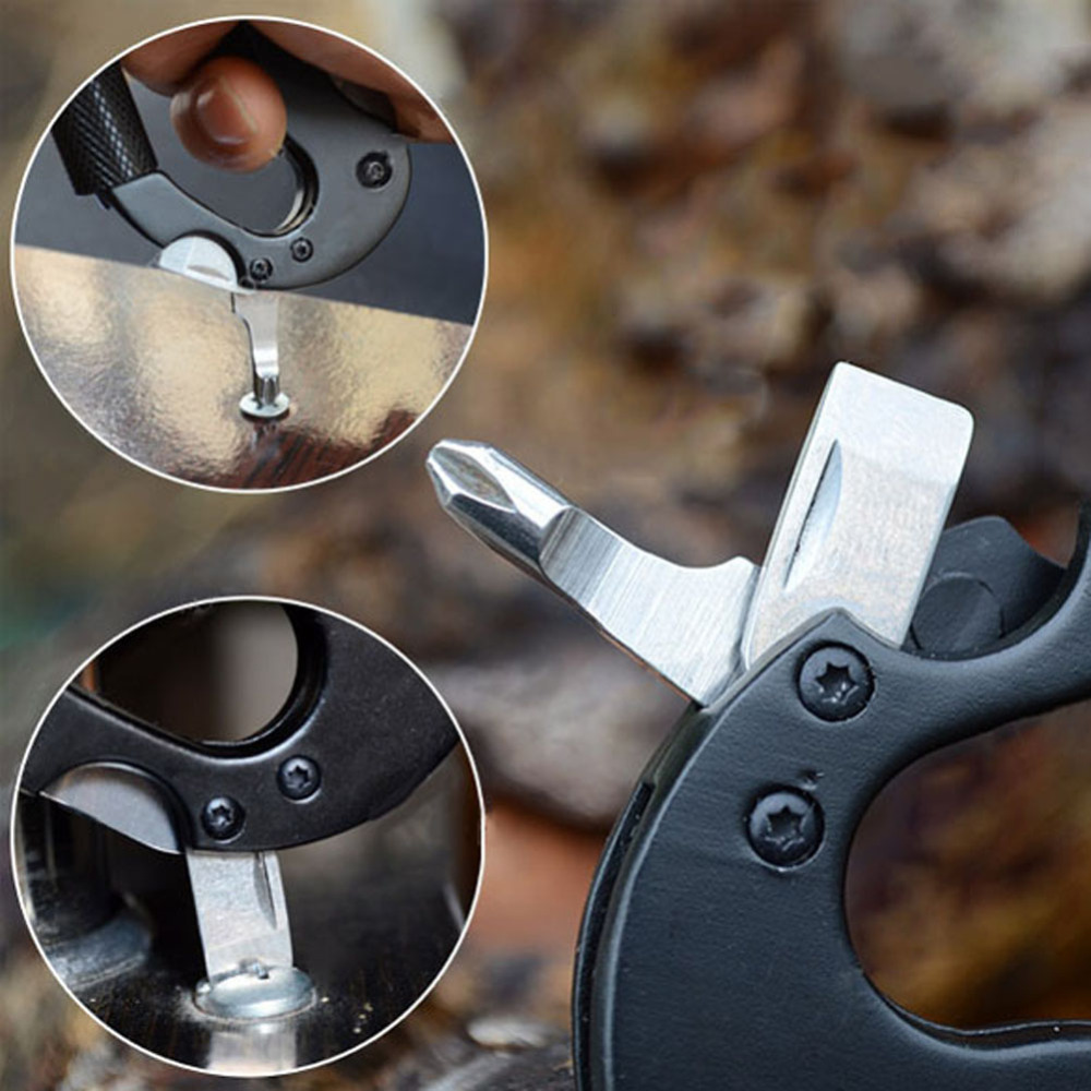 Pocket Multi Tool Aluminio Mosquetón Cuchillo Táctico Hebilla - Camping y senderismo - foto 5