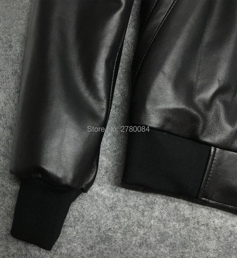 مصنع الرجال سترة الذكور زي بيسبول جلد طبيعي دراجة نارية الملابس والجلود ضئيلة تصميم الخرفان قميص قصير-في معاطف جلد طبيعي من ملابس الرجال على  مجموعة 3