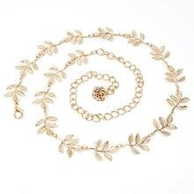 The new Fashion Womens Metal Leaves Tassel Waist chain for Dress belt Alloy women thin waist female long chains