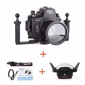 Meikon 60m/195ft Diving Equipment Underwater Housing Case for Nikon D750 Camera,Camera Waterproof Bags w/ Fisheye w/ Tray
