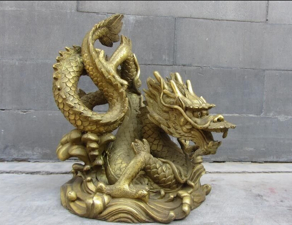 Chinese Royal Brass Copper Feng Shui Lucky Wealth Zodiac Dragon King Statue statue
