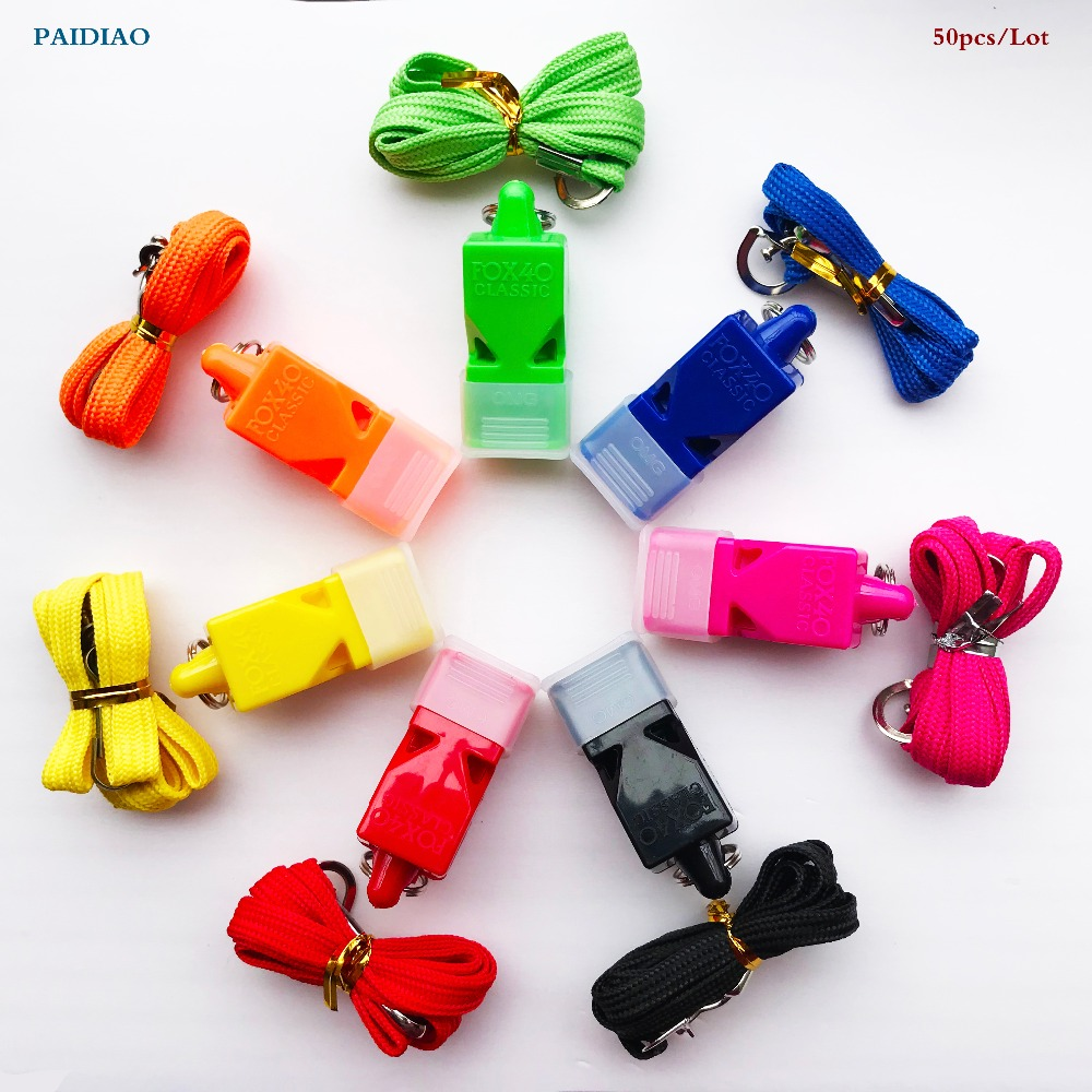 50PCS Lot FOX40 Referee Classic Whistle Basketball Football Volleyball Dolphin Whistle PAIDIAO Apito with CMG with