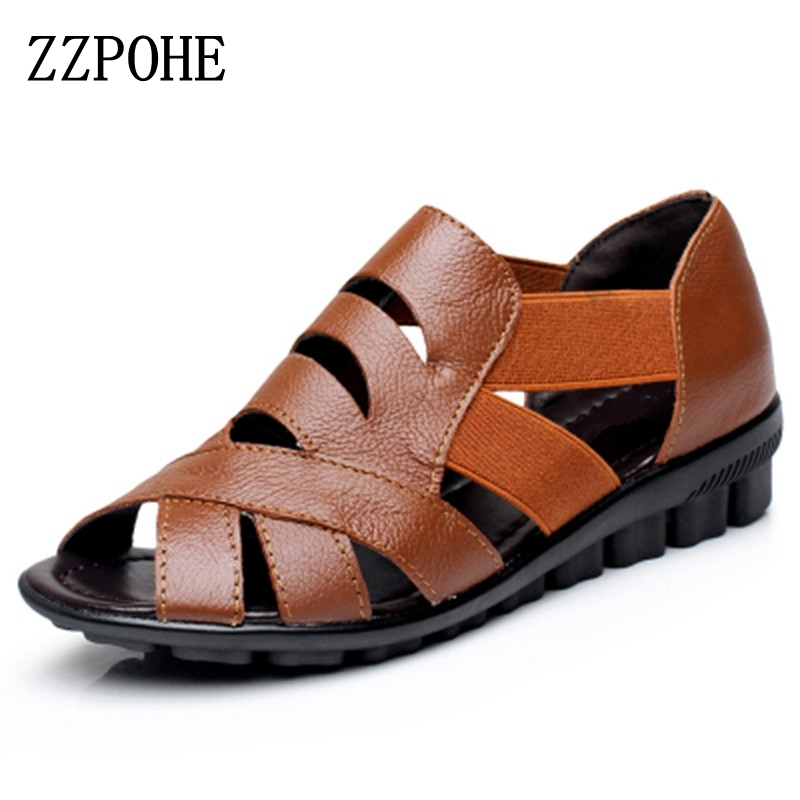 ZZPOHE 2017 new Mother Sandals Summer leather Flat elderly Woman shoes hollow fish mouth soft breathable Women Plus Size Sandals zzpohe 2017 summer new mother sandals elderly fashion casual leather female flat sandals hollow large size women sandals 41 42