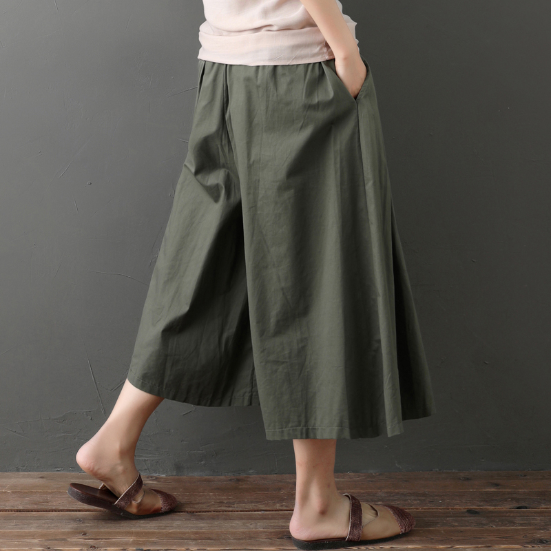 0609 Wide Leg Pants Loose Casual Elastic Waist Cotton Linen Pleated Pants Women Korean Fashion Calf length Trousers Big Size in Pants amp Capris from Women 39 s Clothing