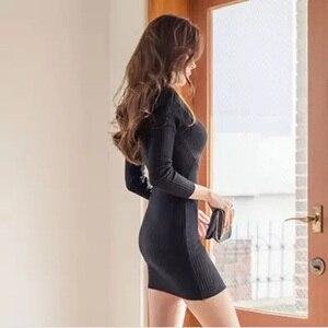Image 4 - 스웨터 드레스 긴 소매 붕대 bodycon 드레스 v 목 블랙 화이트 니트 드레스 가을 겨울 부드러운 높은 탄성 섹시한 드레스