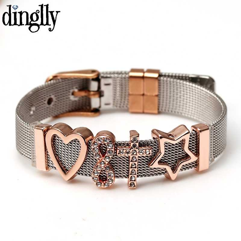DINGLLY Silver Stainless Steel Mesh Bracelets For Women Rose Gold Belief In Love Eternal Salvation Brands Bracelet Jewelry Gift