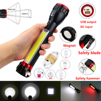 Multifunction Portable Zoomable USB Rechargeable Flashlight Light Handle Worklight Work Inspection Torch With Emergency Hammer