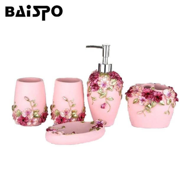 BAISPO Bathroom Accessories Sets 5PCS Resin Bathroom Accessories Set Soap Dispenser/Toothbrush Holder/Cup/Soap Dish