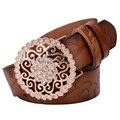 ¡ Venta caliente! cinturones de cuero genuino femenino del diamante flor correas cintos cinturones de moda de cuero de vaca pura envío libre SY136