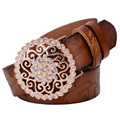 Hot sale! genuine leather belts female's diamond flower straps pure cow leather waistbands fashion cintos free shipping SY136