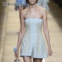 TWOTWINSTYLE летнее платье без бретелек для женщин без рукавов с высокой талией СПЛИТ Элегантные платья женская модная одежда Новинка