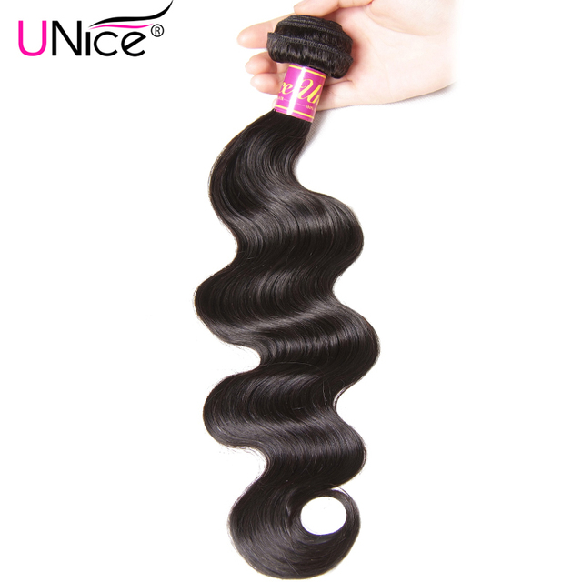 UNice Hair Peruvian Body Wave Weave 100% Human Hair Bundles 8-30inch 1 Piece Can Mix Length Natural Color Remy Hair Extension
