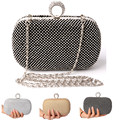 Diamond Rhinestone Evening Clutch Bag Free Shipping  Finger Ring Handbag Purse Evening Wedding Party Bag Silver Black Gold
