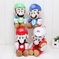 20cm 8'' 4Pcs/Lot Super Mario Bros Mario Luigi Soft Stuffed Plush Toy Dolls Holding Mushroom & Flower Gift For Kids
