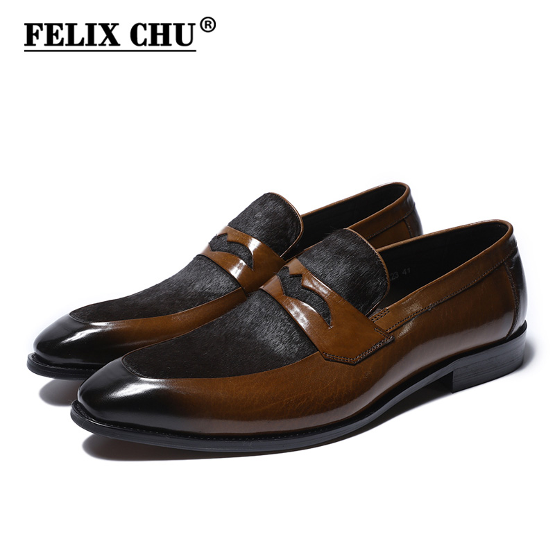 Felix Chu 2018 Model New Luxurious Males Brown Penny Idler Patchwork Of Real Leather-based And Horsehair Spherical Toe Slip On Gown Footwear