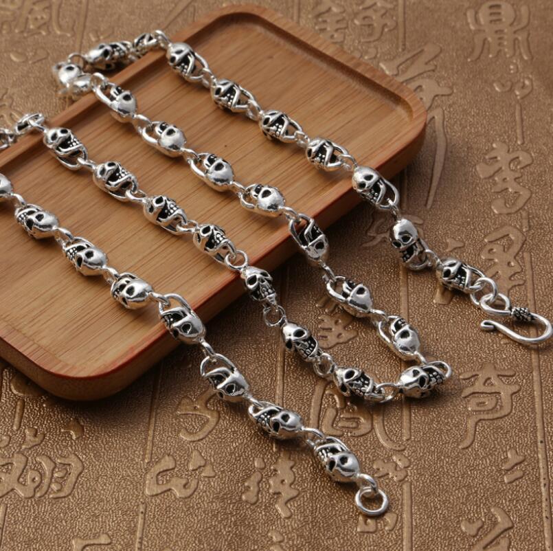 Plata pura S925 plata esterlina 925 joyería Retro cráneo hombres collar
