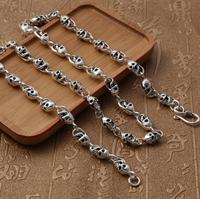 S925 стерлингового серебра в стиле ретро с черепом Мужская ожерелье