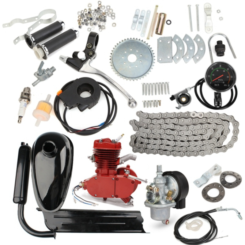 Upgraded 80cc 2 Stroke Motorized Bicycle Gas Engine Motor Kit with  Speedometer Red