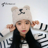 Fibonacci 2017 New Teddy Bear Plush Beanie Knitted Hat Cute Style Kawaii Personality Warm Cap Autumn