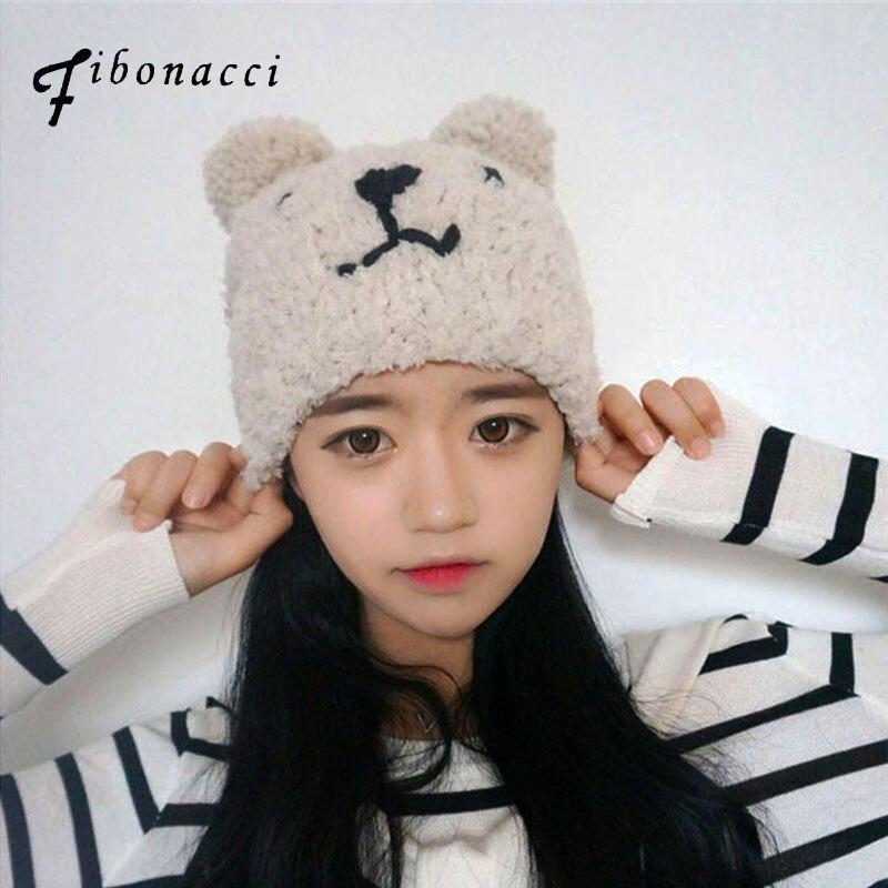 Fibonacci 2017 new teddy bear plush beanie knitted hat cute style kawaii personality warm cap autumn winter hats for women generalization of fibonacci sequence