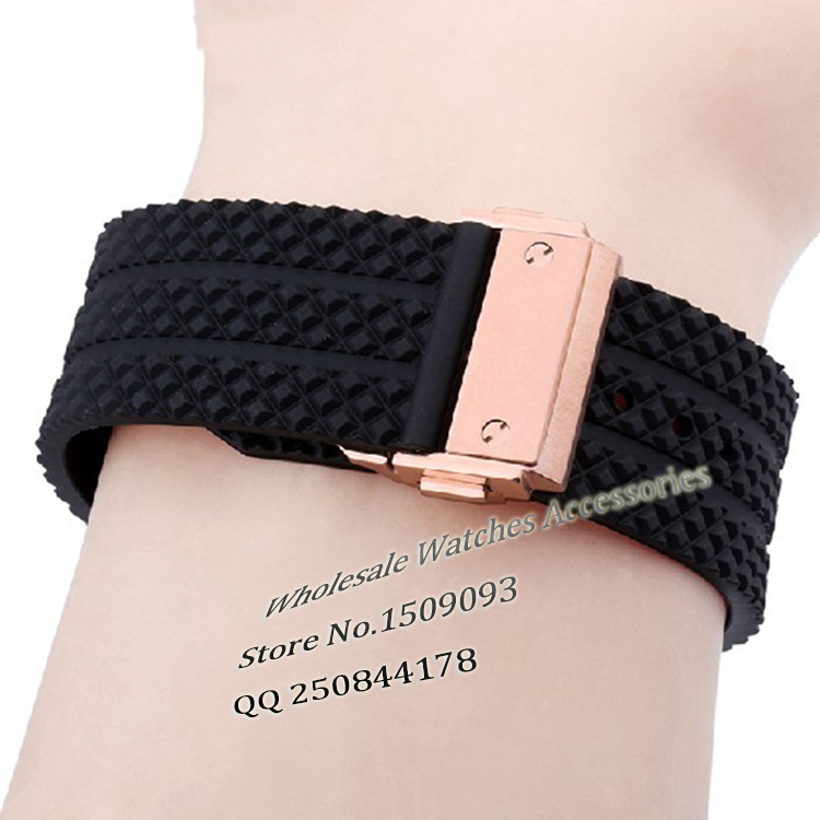 25 *19 mm Black Rubber Waterproof Silicone Diving Watchband Gold folding Buckle deploy Watch Band Strap For Hub01 Free Shipping