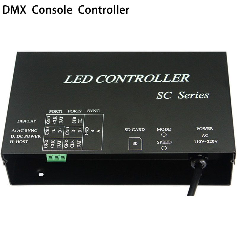 LED controller work with DMX512 console occupy 3 channels support dozens of chips WS2812 WS2811 controller strip controller t1000s sd card led controller pixel controller for ws2812 b2812b dmx512 ws2811 ws2801 lpd8806 apa102 rgb controller