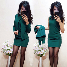 2019 Ladies Dress Suit For Work Full Sleeve Fashion Blazer Sleeveless Dress Solid Color 2 Pieces Set For Businesss Suit Hot Sale