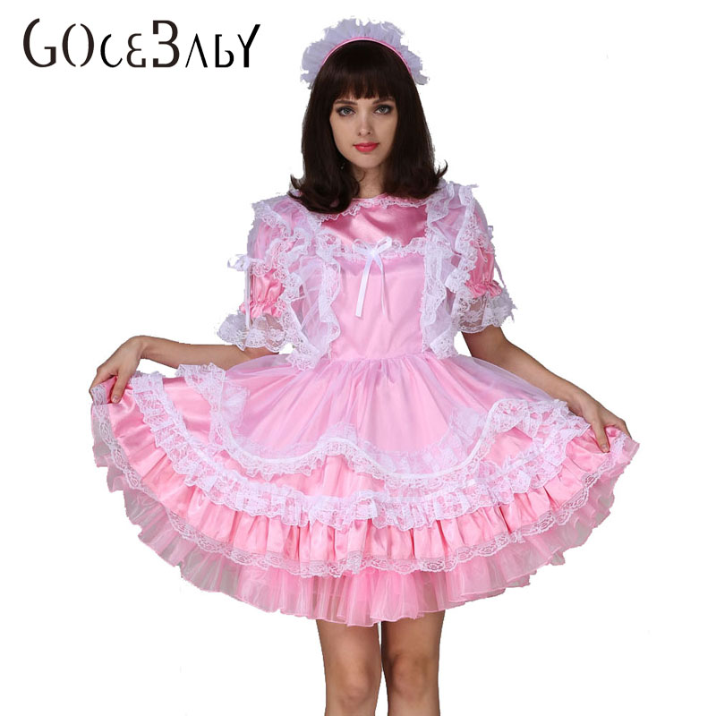 7c6b90bc40f Adult Baby Sissy Boy Maid Satin Lockable Puffy Dress Costume Crossdress  Cosplay Costume on Aliexpress.com