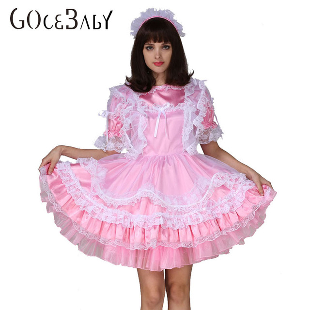 Adult Baby Sissy Boy Maid Satin Lockable Puffy Dress