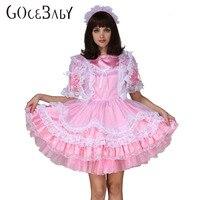 Adult Baby Sissy Boy Maid Satin Lockable Puffy Dress Costume Crossdress Cosplay Costume