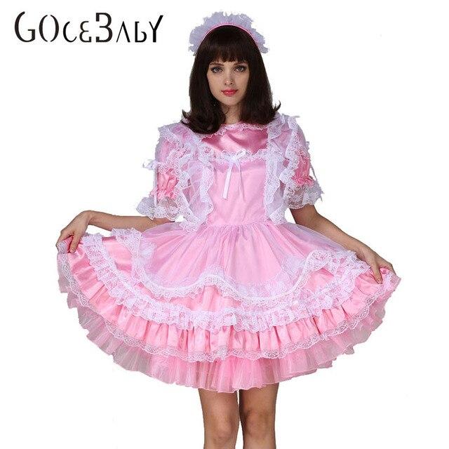 e7e850270b Dorosłych dziecko Sissy Boy pokojówka satyna zamykany rozkloszowana sukienka  kostium Crossdress Cosplay kostium