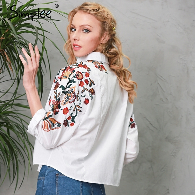 Simplee Embroidery white blouse shirt women tops Short long sleeve feminine blouses chemise Casual 2017 summer beach blusas
