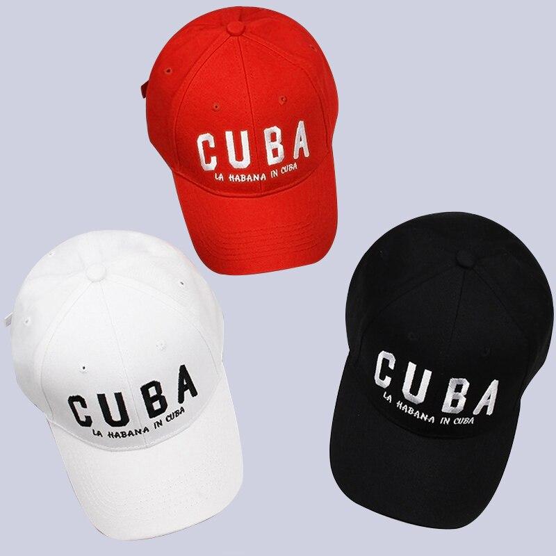Prix pour Maitri 2017 nouveau adulte casquette de baseball de mode coton broderie cuba lettre hommes femmes casquette gorra snapback caps noir blanc rouge