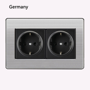 86 type 1 2 3 Gang 1 2 Way bright switch wall Socket with led brushed stainless steel switch French German UK electric socket 25