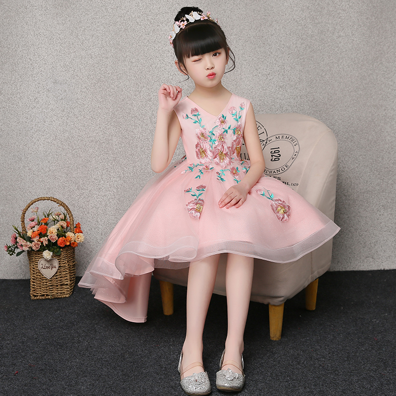 Short Front Long Back Princess Dress V-neck Embroidery Ball Gown First Communion Gowns Tulle Girl's Summer Floral Dress E264 v neck plaid twist front mini dress