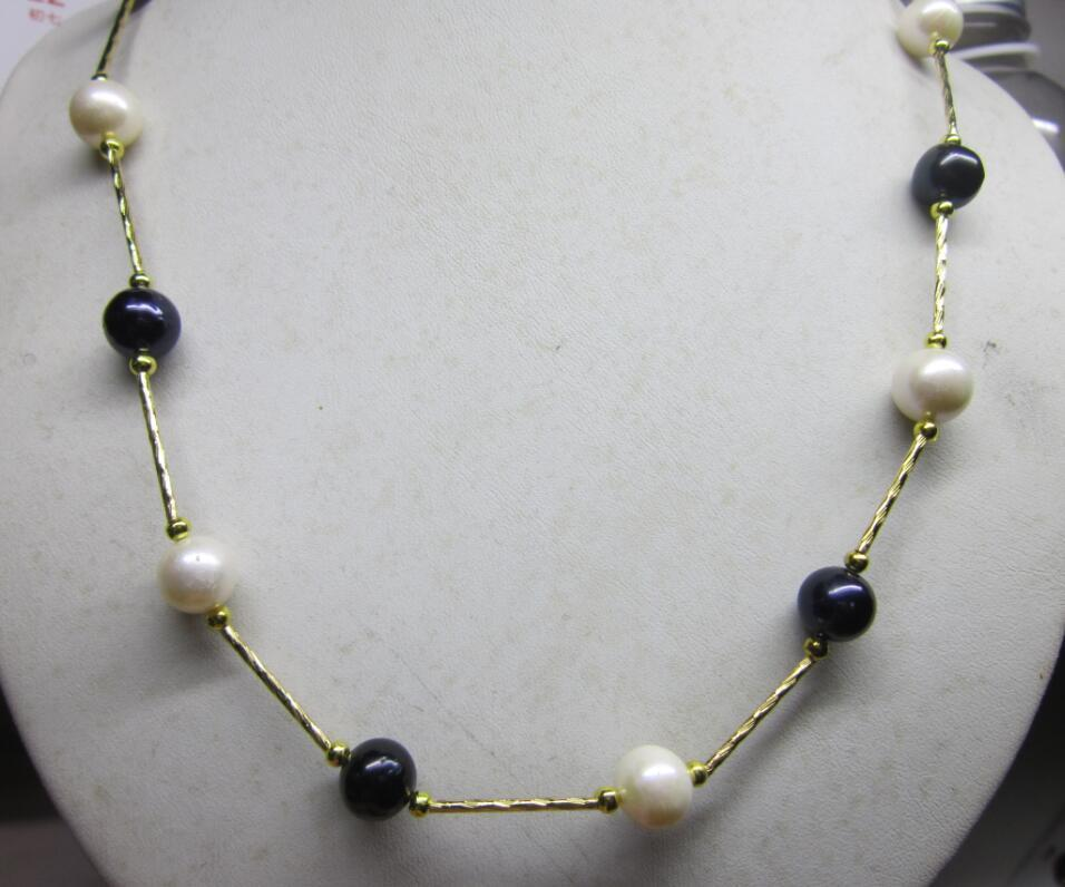 цена на CLASSIC 9-10mm NATURAL SOUTH SEA BLACK WHITE PEARL NECKLACE 14K YELLOW GOLDE