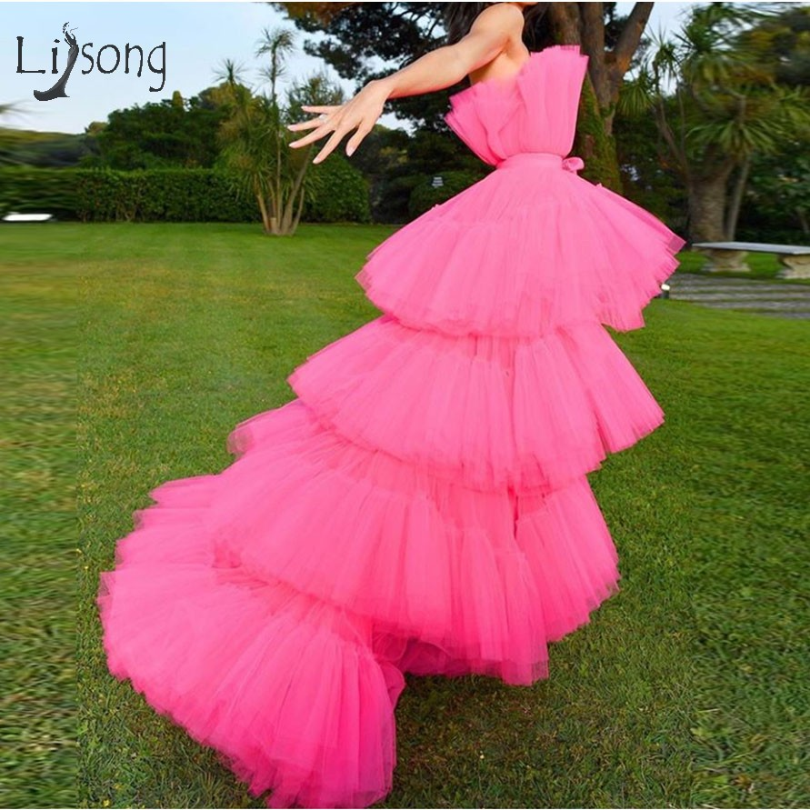 Trendy Fuchsia High Low Tutu Prom Dresses 2019 Lush Puffy Tiered Long Prom Gowns Off The Shoulder Party Dress Abendkleider