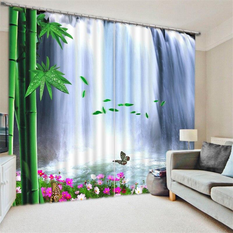 Luxus Blackout 3D Fenster Vorhänge Für Wohnzimmer büro Schlafzimmer Vorhänge cortinas Rideaux Angepasst größe Bambus blatt Wasserfall-in Vorhänge aus Heim und Garten bei  Gruppe 2