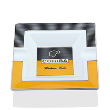 COHIBA Ceramic Cigar Ashtray Square Gadgets Large 2 Holder Cigarette with Gift Box