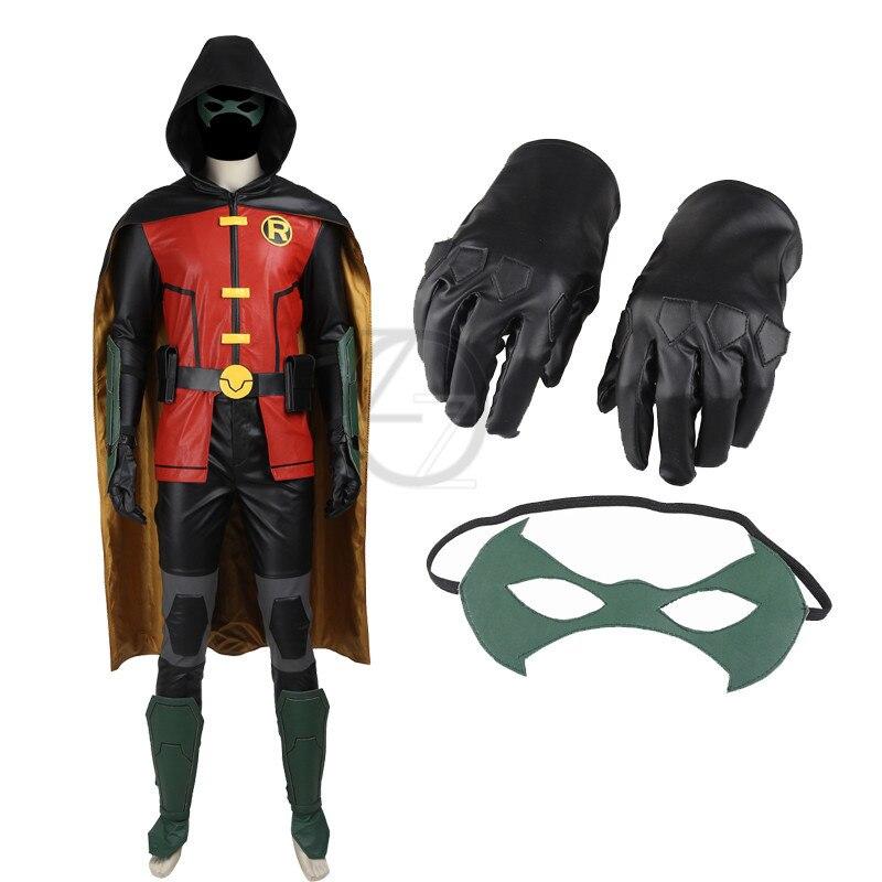 Супергерой Хэллоуин костюмы для взрослых мужчин Бэтмен Молодые юстиции Робин Костюмы для косплея наряд Косплэй Робин кожаный комбинезон