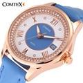 Comtex reloj caja de acero inoxidable correa de cuero de las mujeres ocasionales amigo azul blanco fecha de cuarzo analógico reloj de pulsera para señora gift