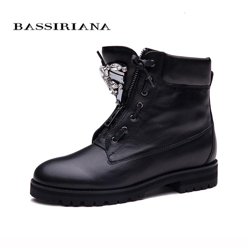 BASSIRIANA Neue Stiefeletten Zip mode herbst winter kurze schuhe frauen stiefel mode metall schuhe stiefel verkauf größe 35-40