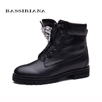 BASSIRIANA New Ankle Boots Zip fashion autumn winter short shoes women boots fashion metal shoes boots sale size 35-40